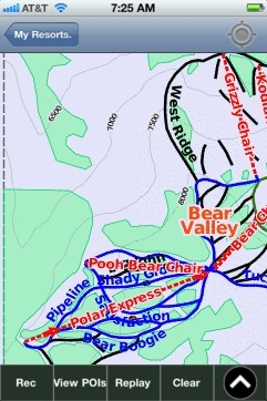 Bear Valley ski map - iPhone Ski App