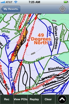 49 Degrees North ski map - iPhone Ski App