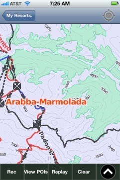 Arabba-Marmolada ski map - iPhone Ski App