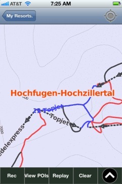 Hochfugen-Hochzillertal ski map - iPhone Ski App