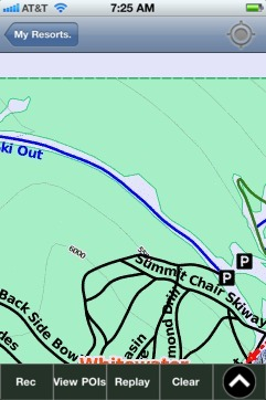 Whitewater ski map - iPhone Ski App
